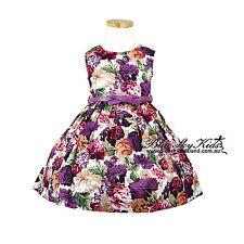 NEW Girls Cotton Dress Floral Print with Belt SUMMER DRESSES Orange Purple Pink
