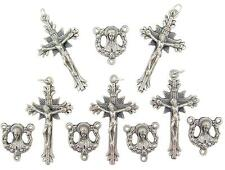 MRT Rosary Lot Of 10 Praying Madonna Round Silver Plate Center & Crucifix Italy