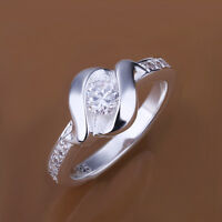 Women 925 Sterling Silver Filled Inlay Zircon Simple Solid Ring Size 7- 8