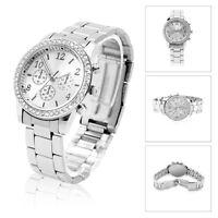 Geneva Crystal Lady Women Men Stainless Steel Quartz Dress Bracelet Wrist Watch