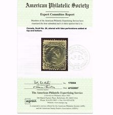GENUINE CANADA SCOTT #26 USED APS CERT 1875 OLIVE GREEN - ESTATE CLOSEOUT.