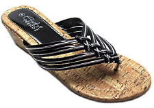 Womens Cork Wedge Sandals Strappy Metallic Silver Piping Black White Pewter