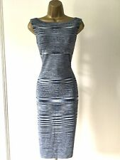 Karen Millen Talla M-Reino Unido 12-14 Azul Gris Raya Vestido Ajustado KQ203 impresionante