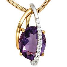 NEU Luxus Diamanten Anhänger Amethyst 585 echt Gold bicolor Brillant 14 Karat