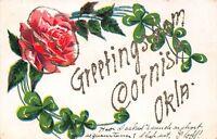 D87/ Cornish Oklahoma Ok Postcard c1910 Greetings from Cornish
