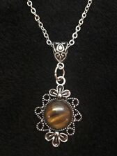 "Tigers Eye Stone Cameo Necklace Pendant Charm 18"" Chain Silver Native American"