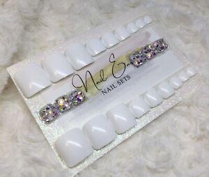 White Diamante False Press On Toe Nails Set