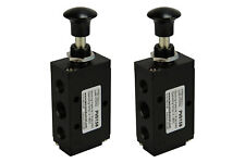 2x Hand Push Pull Pneumatic Air Control Valve 5 Port 4 Way 2 Position 1/4