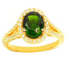 De Buman 2.77ctw Chrome Diopside & CZ Gold Plated Silver Ring, Size 7.5