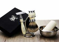 5 Pezzi Set da barba. (Micro-punta dei capelli, DE rasoio di sicurezza, Stand & sapone) Regalo perfetto