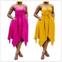 Plus Size Women Spaghetti Strap Knot Solid Pockets Backless Irregular Dress