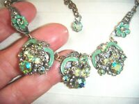 VINTAGE CZECH FILIGREE Beautiful ENAMEL AQUA AURORA BOREALIS CRYSTAL NECKLACE