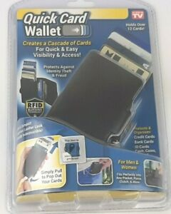 Quick Card Wallet As Seen On TV RFID Blocking Holds 12 Cards & Money Men Women
