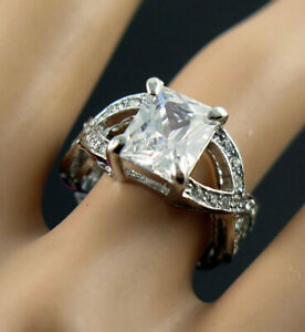 Hot Square White Crystal Silver Colour Betsey Johnson Lady's Woman Ring Size 6