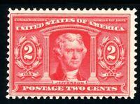 USAstamps Unused FVF US 1904 Louisiana Purchase Jefferson Scott 324 OG MNH
