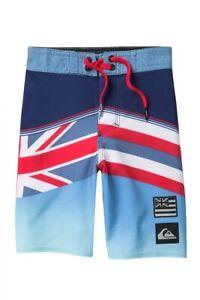 Quiksilver Little Boy's Highline Hawaii Hawaiian Flag Board Shorts Blue 4/5/6