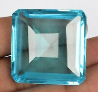 84.00 Ct Swiss Blue Topaz Square Cut Faceted Loose Gemstone For Jewelry BV-664