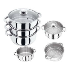 24CM S/S STEEL INDUCTION HOB 3TIER STEAMER MULTI VEG COOKER POT PAN SET WITH LID