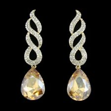 Long Gold Plated Champagne Gold White Crystal  Wedding Bridal Statement Earrings