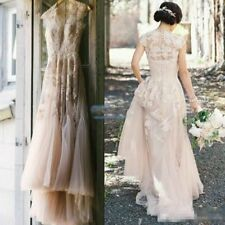 Vintage Champagne Lace Wedding Dress Bridal Gown Western Country Wedding Dress
