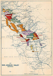 "1930 Map of the San Joaquin Valley, California 11""x16"" Art Print Decor Artwork"