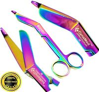 "HEAVY DUTY GERMAN 1 Lister Bandage Nurse Scissors - 5.5"" Titanium Color Rainbow"