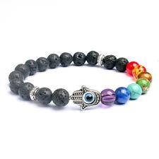 7 Chakra Healing Balance Bracelet Hamsa Pendant Stretch Yoga Mala Beaded Lucky