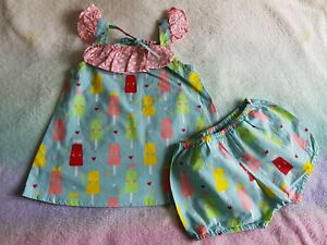 OOBI Sz 18 Months ICECREAM Print Dress + Bloomers SET As New!