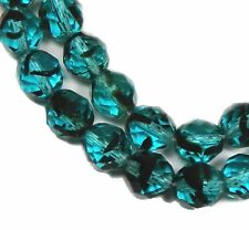 """Turquoise Black Tort Czech 10mm Faceted Round Firepolish Glass Beads 16"""""""