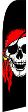 PIRATE RED BANDANA JOLLY ROGER Swooper Banner Feather Flutter Curved Top Flag