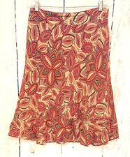 Womens East 5th Sz 10 Linen Swing Skirt Ruffle Lined Floral Boho Red Orange
