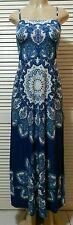 New! Inc International Concepts Blue Multi Spaghetti Straps Maxi Dress Medium