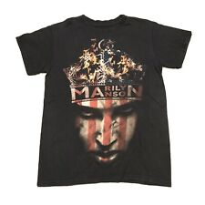 Rare Vintage 2008 Marilyn Manson Stars And Stripes On Fire Face Portrait Sz S/M