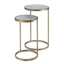 Convenience Concepts Gold Coast Marble Nesting End Tables, Marble/Gold - 413555M