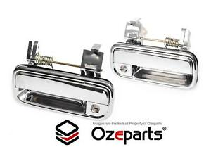 Pair LH+RH FRONT Outer Door Handle Chrome For Toyota Hilux Ute 2WD 4WD 1988~1997