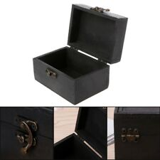 Vintage Wood Lock Jewelry Case Black Storage Box Necklace Treasure Organizer