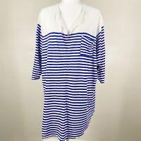 Lucky Brand Top Plus women's 3X size blue white stripe breton nautical