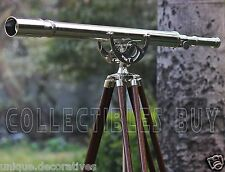 Nautical Double Harbor Master Vintage Brass Telescopes Nickel Marine tripod