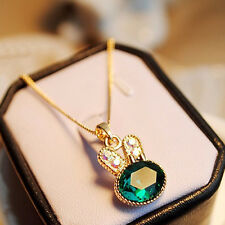 Fashion Cute Jewelry Sea Green Rabbit Crystal Clavicle Chain Necklace