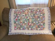 """Blue Multi Color Baby Size Quilt Hand Stitched 39 1/4"""" x 31 3/4"""" or Table Cover"""