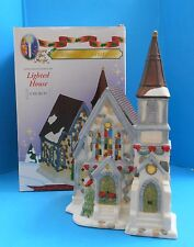 Victorian Christmas Village Church Chapel Lighted Stone Style Stained Glass