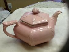 Vintage HALL CHINA Pottery Teapot - Pink Victorian Plume Pattern