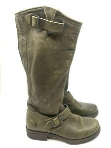 FRYE Olive Distressed Leather Boot Mid Calf Pull On Buckle Rubber Sole Size 6.5