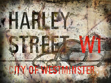 HARLEY ST LONDON STREET METAL SIGN:WALL PLAQUE:MAN SHED:HOME PUB:GIFTS