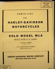 1942 Parts Price List Harley-Davidson 42-WLA Military Motorcycle Solo TM 10-1482