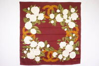 CHANEL 95cm Large scarf 100% Silk Coco mark Camellia Floral Bordeaux 4616k