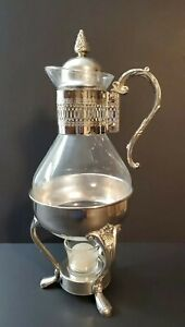 Vintage Silver Plated Carafae Tea/Coffee 10 Cups Kettle With Stand & Burner