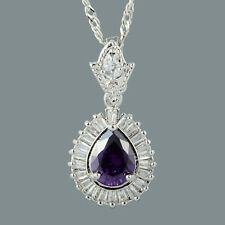 Stunning 18K White Gold Plated Cubic Zirconia Pear Cut Purple Amethyst Pendant