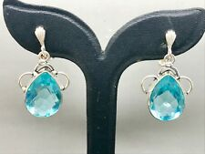 Lovely Vintage Large Aquamarine  Sterling Silver Clip Earrings