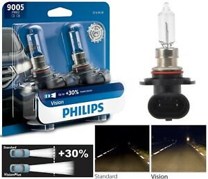 Philips VIsion 30% 9005 HB3 65W Two Bulbs Head Light Low Beam Replacement Lamp